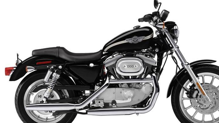Harley Davidson Sportster Xl1200c Custom Black Color And White Background